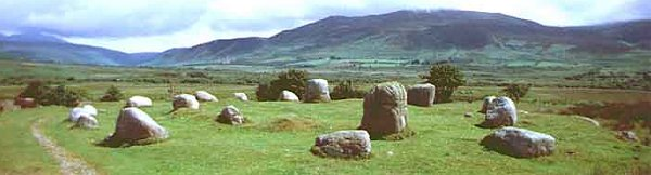 A concentric ring of stones with an inner ring made up of larger boulder stones