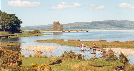 Lochranza castle - with Kintyre in the background